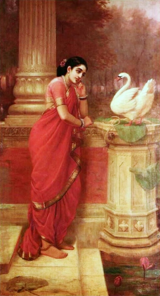 Ravi_Varma-Princess_Damayanthi_talking_with_Royal_Swan_about_Nala